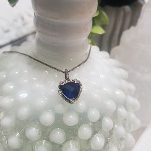 Jewelry - ⭐3/$50⭐ Sterling Silver Blue Heart Necklace